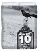 Wildlife Watching The Speed Limit Duvet Cover