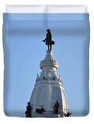 William Penn - On Top Of City Hall Duvet Cover by Bill Cannon