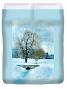 Willow Trees By Stream In Winter Duvet Cover
