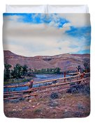 Wind River And Horses Duvet Cover