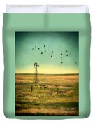 Windmill And Birds Duvet Cover