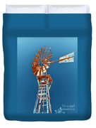 Windmill Rust Orange With Blue Sky Duvet Cover by Rebecca Margraf