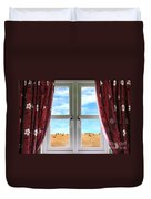 Window And Curtains With View Of Crops  Duvet Cover