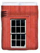 Window In Red Wall Duvet Cover