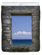 Window View At Fayette State Park Michigan Duvet Cover
