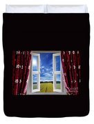 Window View Onto Arable Farmland Duvet Cover