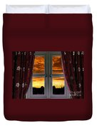 Window With Fiery Sky Duvet Cover