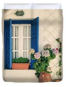Window With Flowers Duvet Cover