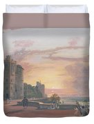 Windsor Castle North Terrace Looking West At Sunse Duvet Cover