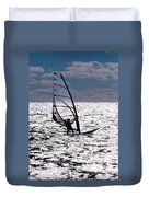 windsurfer rides the water at West Dennis Beach on Cape Cod Duvet Cover