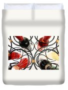 Wine Bottles In Curved Wine Rack Duvet Cover