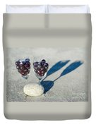 Wine Glass With Grapes Duvet Cover
