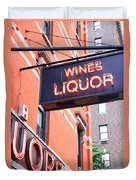 Wines And Spirits Sign Duvet Cover
