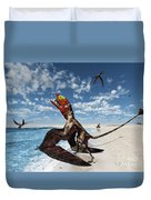 Winged Dimorphodon Pluck Fish Duvet Cover by Walter Myers