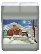 Winter At The Cabin Duvet Cover