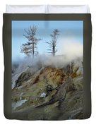 Winter At Yellowstone's Mammoth Terrace Duvet Cover