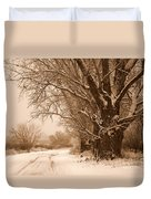 Winter Country Road Duvet Cover
