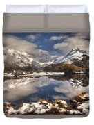 Winter Dawn Reflection Of Mount Duvet Cover by Colin Monteath