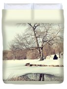 Winter Day In The Park Duvet Cover