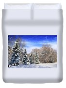 Winter Forest With Snow Duvet Cover