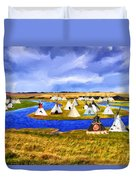 Winter Gathering Place Duvet Cover