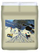 Winter Hillside Morzine France Duvet Cover