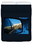 Winter Landscape Seen Through A Car Mirror Duvet Cover