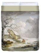 Winter Landscape With Men Snowballing An Old Woman Duvet Cover
