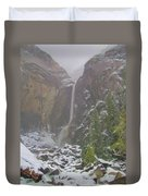 Winter Lower Yosemite Falls Duvet Cover