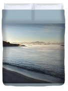 Winter Mist On Lake Superior At Sunrise Duvet Cover by Susan Dykstra