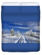 Winter Rural Road Duvet Cover