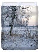 Winter Scene With Snow-covered Grasses Duvet Cover