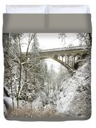 Winter, Shepperds Dell, Columbia River Duvet Cover