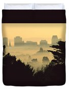Winter Smog Over The City Duvet Cover