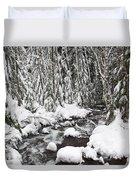 Winter Snow Along Still Creek In Mt Duvet Cover by Craig Tuttle