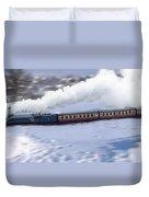 Winter Steam Train Duvet Cover