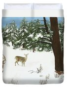 Wintering Whitetails Duvet Cover