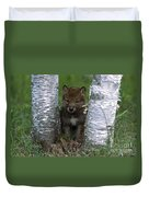 Wolf Pup Playing Peekaboo Duvet Cover