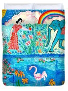 Woman And Blue Elephant Beside The Lake Duvet Cover