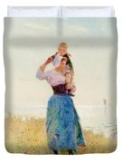 Woman And Child In A Meadow Duvet Cover
