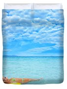 Woman And Ocean Duvet Cover