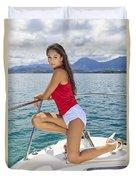 Woman Boating At Kaneohe Duvet Cover