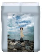 Woman By The Sea With Arms Reaching Up In Praise Duvet Cover