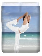 Woman Doing Yoga On The Beach Duvet Cover