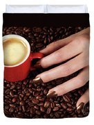 Woman Hand Holding A Cup Of Latte Duvet Cover