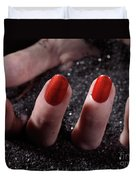 Woman Hand With Red Nail Polish Buried In Black Sand Duvet Cover