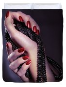Woman Hands Holding Jewelry Duvet Cover by Oleksiy Maksymenko