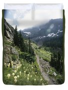 Woman Hiking On Sperry Chalet Trail Duvet Cover