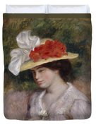 Woman In A Flowered Hat Duvet Cover