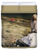 Woman In A River Duvet Cover